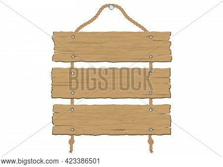 Retro Vintage Brown Wooden Plank Cracked Sign Boards Hanging With Rope Vector Illustration