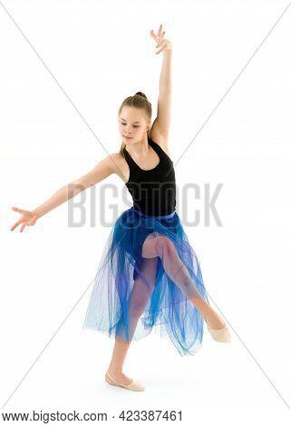 Graceful Girl Gymnast Performing Rhythmic Gymnastics Exercise, Sportive Girl Dancing Wearing Sport D