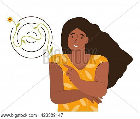 Happy Woman Solves A Puzzle And Finds A Way Out Of The Maze. Smiling Girl Cares About Herself. Conce