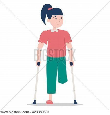 Little Girl On Crutches Vector Isolated. Injured Kid