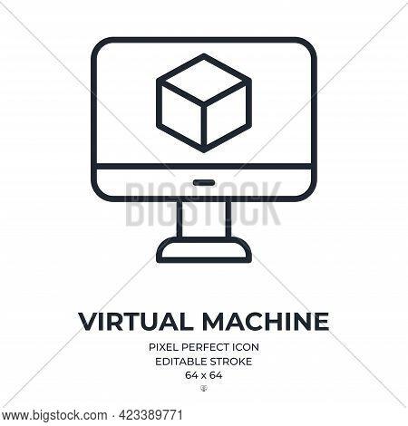Virtual Machine Editable Stroke Outline Icon Isolated On White Background Flat Vector Illustration.