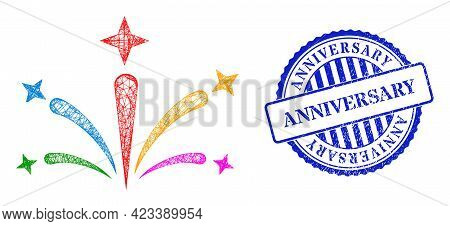 Vector Network Salute Fireworks Wireframe, And Anniversary Blue Rosette Grunge Stamp Seal. Hatched C