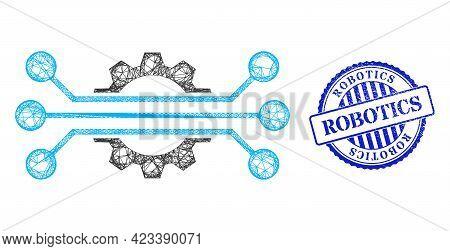 Vector Net Mesh Hitech Industry Framework, And Robotics Blue Rosette Dirty Seal. Linear Carcass Net