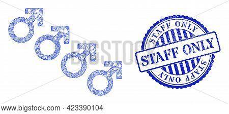 Vector Net Mesh Male Cohort Symbol Model, And Staff Only Blue Rosette Grunge Stamp Seal. Crossed Car