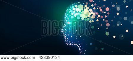 Illustration Of Human Head With A Luminous Brain Network. Digital Brain, Analysis Information, Cyber