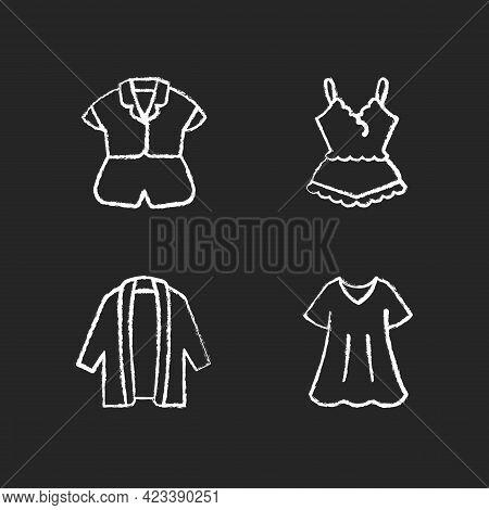 Homewear Chalk White Icons Set On Dark Background. Silk Top And Shorts. Lace Pyjamas. Long Cardigan.