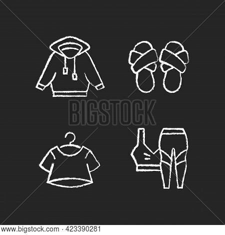 Pajamas For Home Chalk White Icons Set On Dark Background. Hoodied Shirt. Cross Band Slippers. Crop