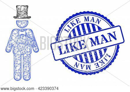 Vector Net Mesh Gentleman Frame, And Like Man Blue Rosette Textured Seal. Linear Frame Net Symbol De
