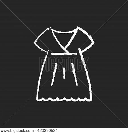 Nightgown Chalk White Icon On Dark Background. Long Dress. Luxury Women Apparel. Outfit For Girls. S