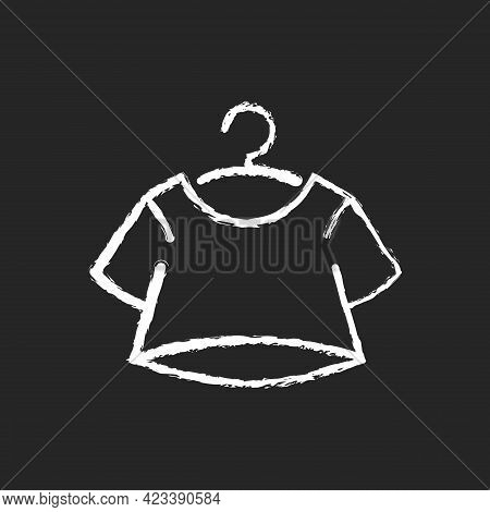 Crop Top Chalk White Icon On Dark Background. Short For Women. Unisex Comfy Wear. Outfit For Home Lo