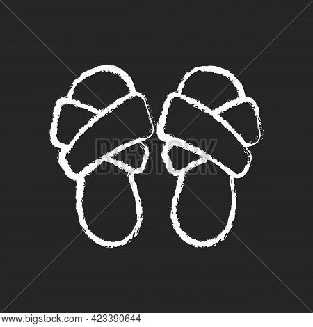 Cross Band Slippers Chalk White Icon On Dark Background. Footwear For Lounging At Home. Comfortable