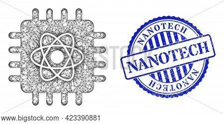 Vector Crossing Mesh Quantum Computing Frame, And Nanotech Blue Rosette Grunge Seal Print. Crossed F