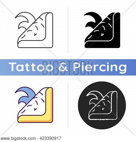Fake Tattoo Icon. Decorative Image Which Is Applied To Skin Temporary. Special Type Of Body Decals.
