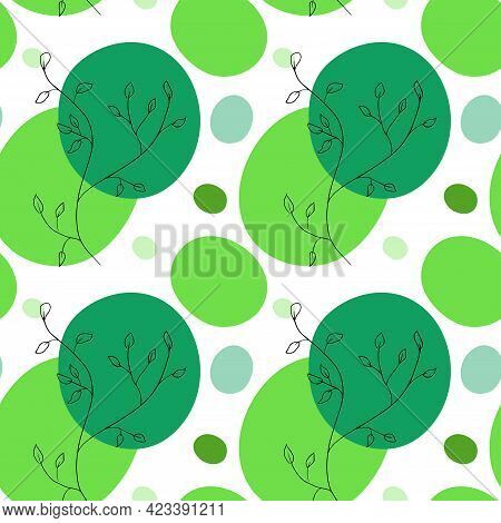 Seamless Pattern With Sketch Of Branches And Abstract Geometric Shapes. Hand Drawn Vector Illustrati