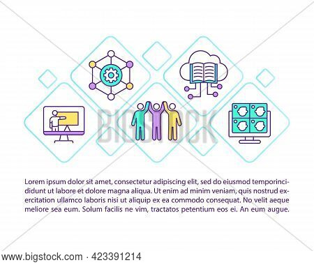 Community Development Solutions Concept Line Icons With Text. Ppt Page Vector Template With Copy Spa
