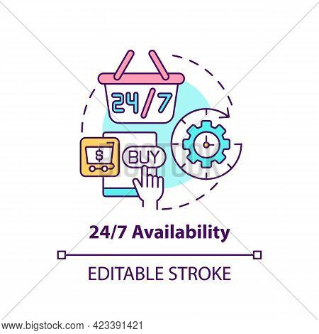 24 7 Availability Concept Icon. Online Marketplace Benefit Abstract Idea Thin Line Illustration. Han