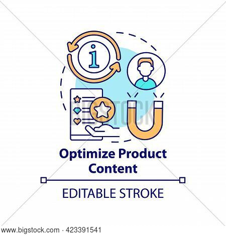 Optimize Product Content Concept Icon. Online Marketplace Success Tip Abstract Idea Thin Line Illust