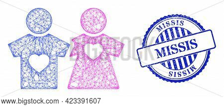 Vector Crossing Mesh Lovers Persons Frame, And Missis Blue Rosette Grunge Seal Imitation. Crossed Fr