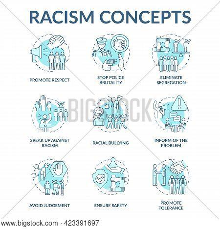 Racism Concept Icons Set. Fighting Racial Discrimination, Intolerance Idea Thin Line Color Illustrat