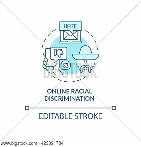 Online Racial Discrimination Concept Icon. Racist Behaviour In Electronic Format Abstract Idea Thin