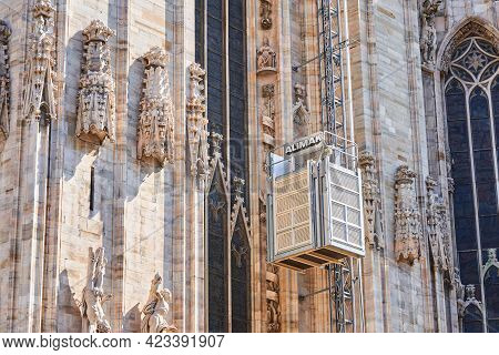 Milan, Italy - July 7, 2020. Restoration Works In Cathedral Of Milan, Duomo Di Milano, Workers Using