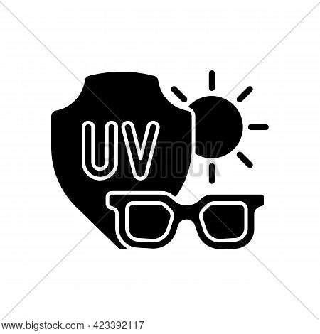 Sunglasses Black Glyph Icon. Glasses For Eye Protection From Uv Rays. Preventing Sun Exposure And Ul