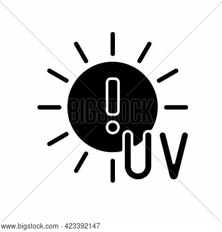 Danger Of Uv Rays Black Glyph Icon. Ultraviolet Exposure Risk During Summer. Caution To Prevent Heat