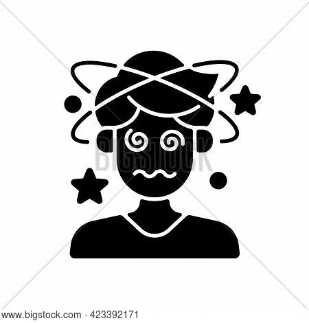 Dizziness And Confusion Black Glyph Icon. Man With Headache Losing Consciousness. Person With Heat E
