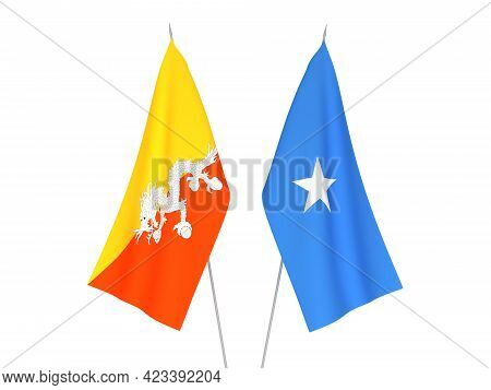 National Fabric Flags Of Somalia And Kingdom Of Bhutan Isolated On White Background. 3d Rendering Il