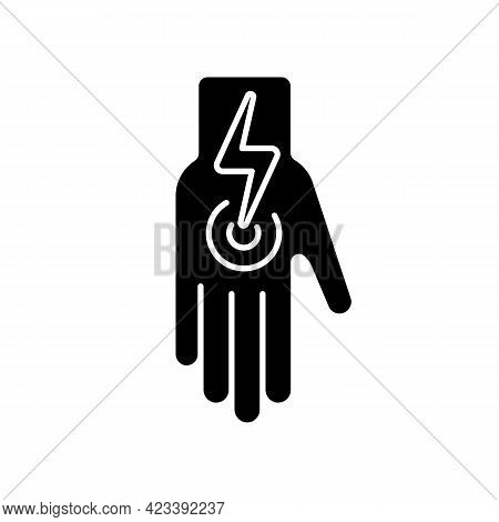 Cramps In Arms And Legs Black Glyph Icon. Acute Joint Pain In Arm. Ache From Injury, Muscle Strain.