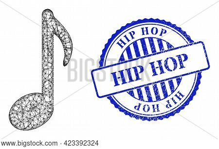 Vector Crossing Mesh Music Note Frame, And Hip Hop Blue Rosette Corroded Watermark. Crossed Carcass