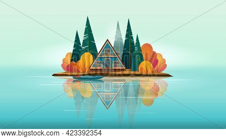 Wooden A-frame House Surrounded By Fir Trees And Bushes And A Boat Near The Shore On A Small Island