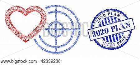 Vector Net Mesh Romantic Heart Target Framework, And 2020 Plan Blue Rosette Grunge Seal Imitation. L