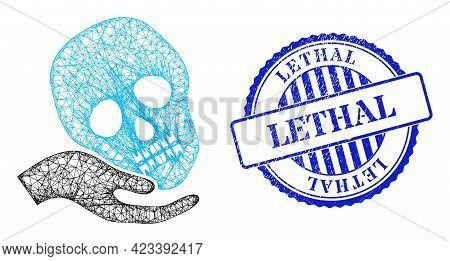 Vector Net Mesh Hand Holds Skull Wireframe, And Lethal Blue Rosette Corroded Stamp Seal. Linear Fram