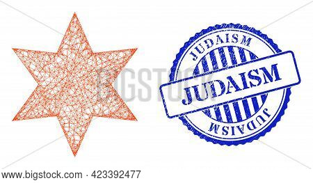Vector Net Mesh Six Pointed Star Wireframe, And Judaism Blue Rosette Dirty Stamp. Hatched Frame Net