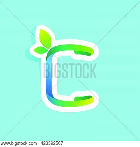C Letter Flow Line Eco Logo With Green Leaves. Vector Green Icon Perfect To Use In Your Agriculture