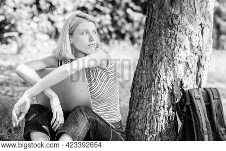 Reasons Why You Should Take Your Work Outside. Woman Student Sit On Grass While Study. Work In Summe