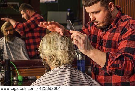 Barbershop Grooming. Personal Stylist Barber. Retro And Vintage. Designing Haircut. Barber Tools In