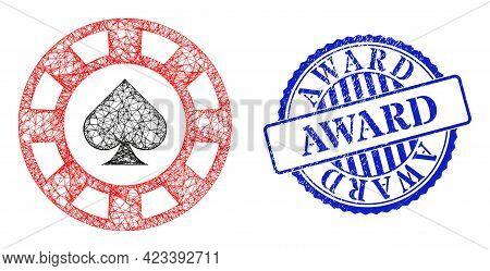 Vector Net Mesh Spades Casino Chip Framework, And Award Blue Rosette Corroded Seal Imitation. Linear