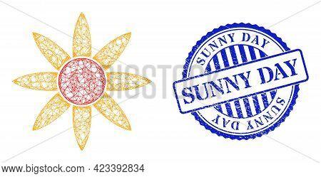 Vector Net Mesh Sun Shine Wireframe, And Sunny Day Blue Rosette Rubber Seal Print. Crossed Frame Net