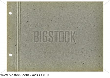 Blank Sheet Of Old Photo Album For Storing Photos, Pinned With Corners, Isolated On White Background