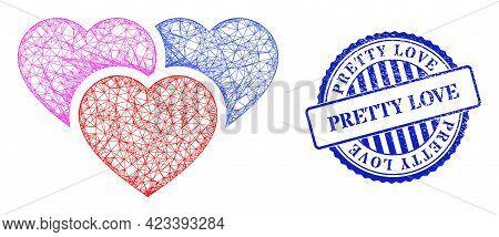 Vector Net Love Hearts Frame, And Pretty Love Blue Rosette Rubber Stamp Seal. Wire Frame Net Illustr