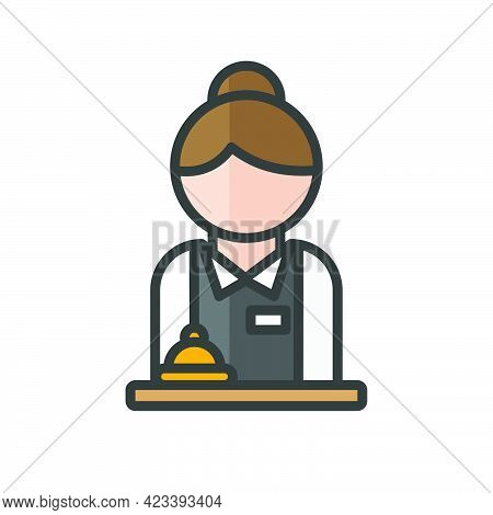 Female Hotel Receptionist Avatar. Woman With Uniform And Bell Character. Profile User, Person. Peopl