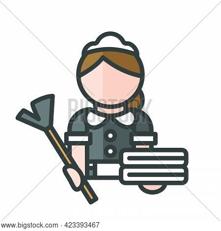 Maid Avatar. Babysitter And Cleaner. Profile User, Person. People Icon. Isolated Vector Illustration