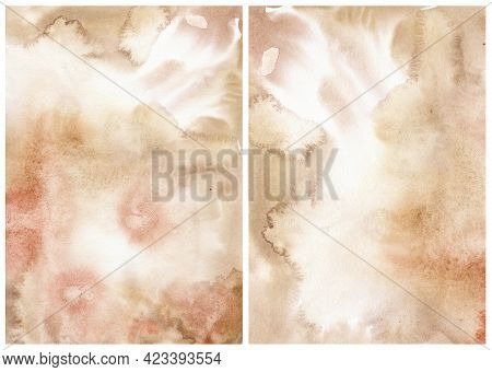 Watercolor Abstract Background With Beige And Pink Spots. Hand Painted Pastel Illustration Isolated