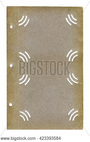 Blank Page Of Old Photo Album With Special Slots For Photos, Isolated On White Background. Texture O