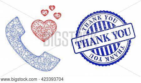 Vector Net Romantic Phone Framework, And Thank You Blue Rosette Textured Stamp Seal. Linear Frame Ne