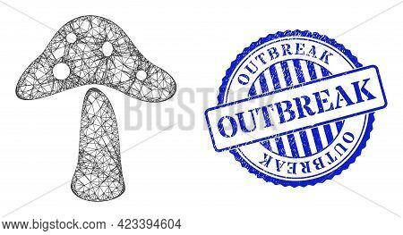 Vector Crossing Mesh Toxic Mushroom Frame, And Outbreak Blue Rosette Dirty Watermark. Crossed Frame