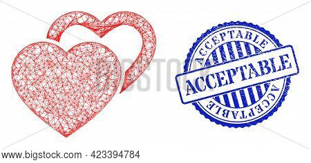 Vector Crossing Mesh Valentine Hearts Framework, And Acceptable Blue Rosette Dirty Stamp Seal. Cross