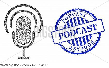 Vector Crossing Mesh Podcast Model, And Podcast Blue Rosette Unclean Stamp Seal. Crossed Frame Net S